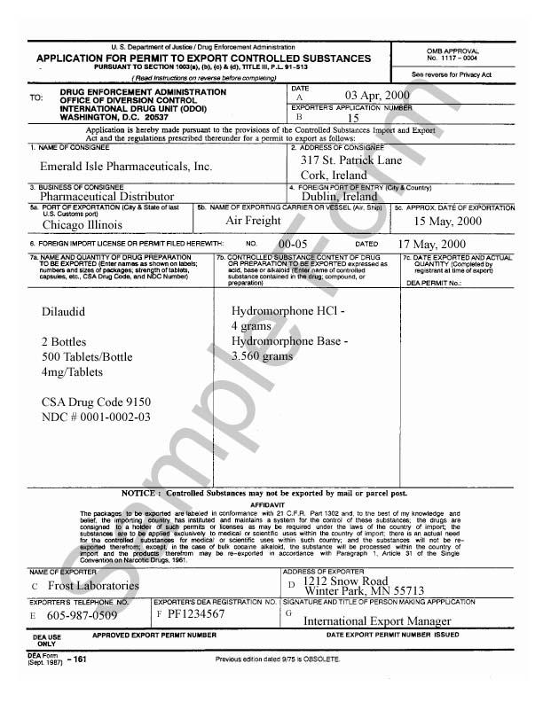 Dea form 161 for Controlled drug register template
